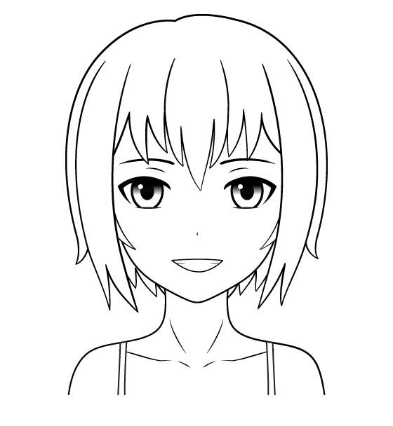 Gadis anime tersenyum