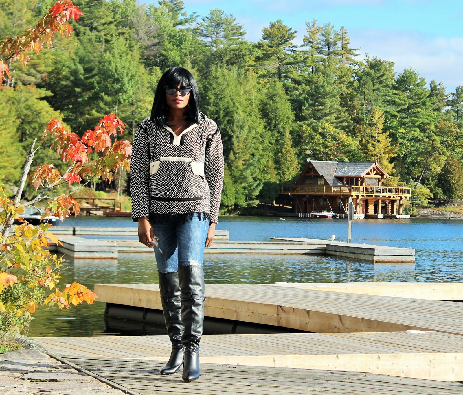 FALL'S INSANELY POPULAR LOOK: woven hoodie for women by Rebellion again + distressed denim jeans by Hollister + over-the-knee boots by Breckelle's