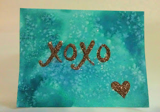 glittered watercolor valentine card