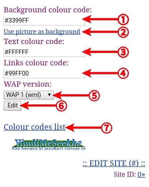 Wapka-website-change-default-design-background-text-link