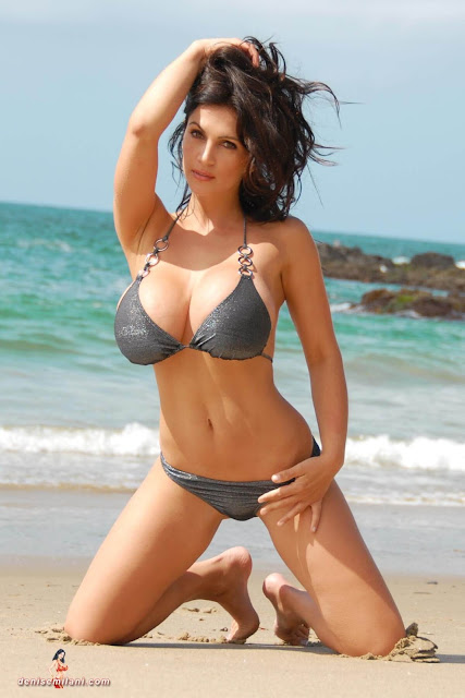Denise-Milani-Beach-Silver-bikini-hottest-photoshoot-pics-16