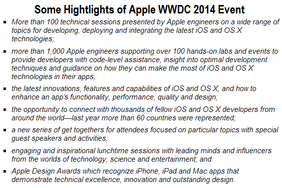 Some Highlights of Apple WWDC 2014 Event