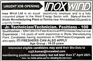 Inox Wind Ltd Blade Manufacturing Plant  at Rohika near Ahmedabad, Gujarat is 10th Pass /12th Pass/ ITI Freshers And Experienced Candidates