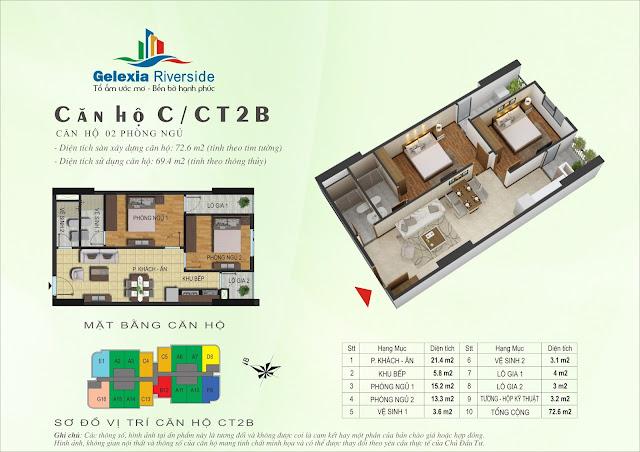 Căn hộ C - 2 phòng ngủ tòa CT2B - CT3 chung cư Gelexia Riverside