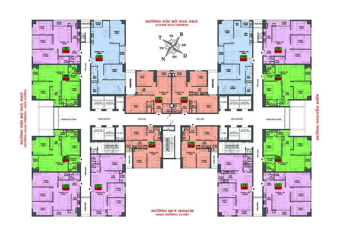 Mặt bằng căn hộ chung cư Housinco Premium