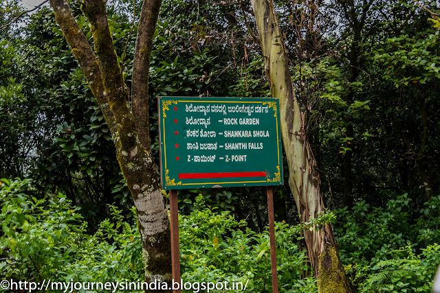 Direction board at Kemmangundi Hill station