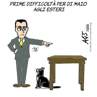 Di Maio, farnesina, ministero degli Esteri, ministro degli esteri, politica, governo m5s pd, vignetta, satira