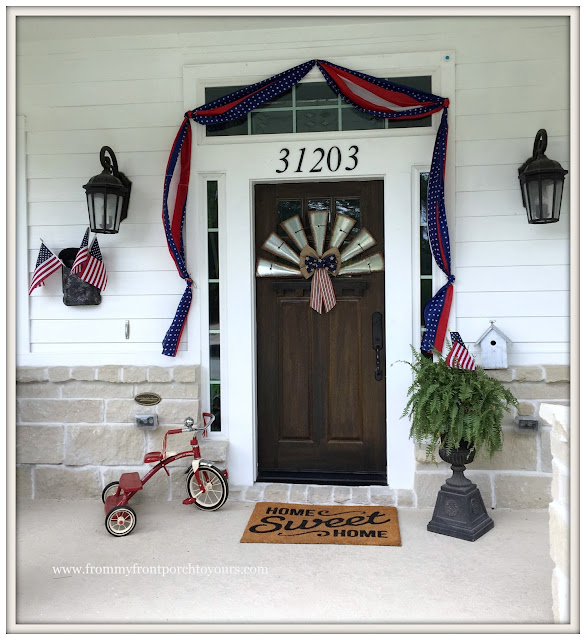 Farmhouse-Fourth of July-Patriotic-Bunting-Front Door-Tricycle- Front Porch-From My Front Porch To Yours