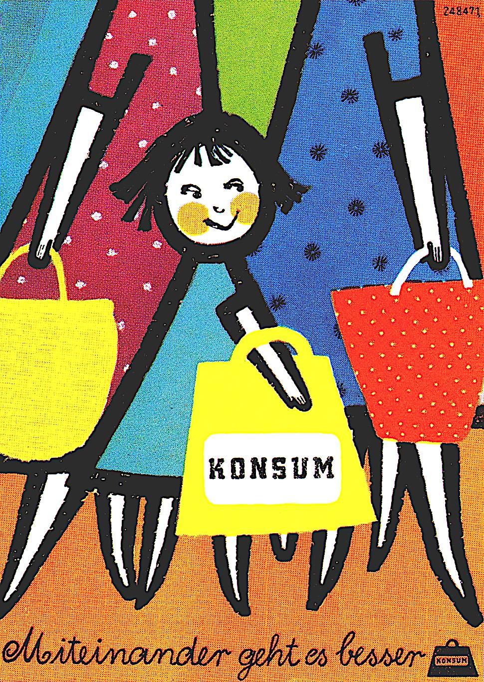 an illustration by Sigrid & Hans Lämmle 1955, Konsum, a little smiling girl shopping