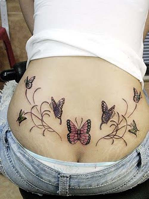 Porn tattoo lower back