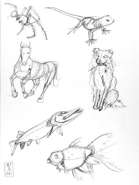 Daily Art 10-08-17 gesture studies of animals