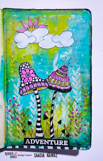 Art journal spread with Rubber Dance stamps and acrylic paints
