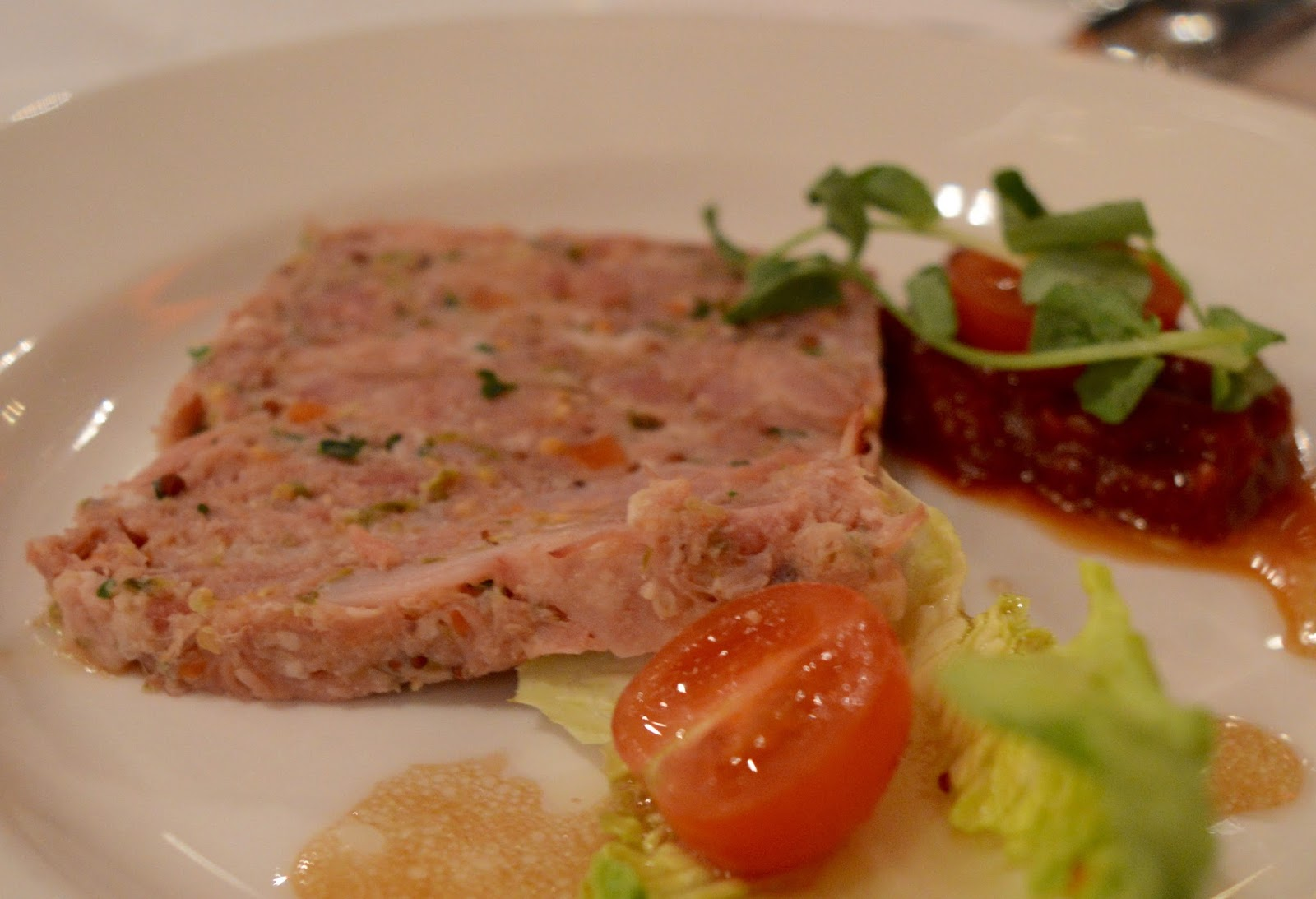 A grown-up date night at Doubletree by Hilton Newcastle Airport with a night of swing and sax with Jason Isaacs in the function room.  - ham hock terrine