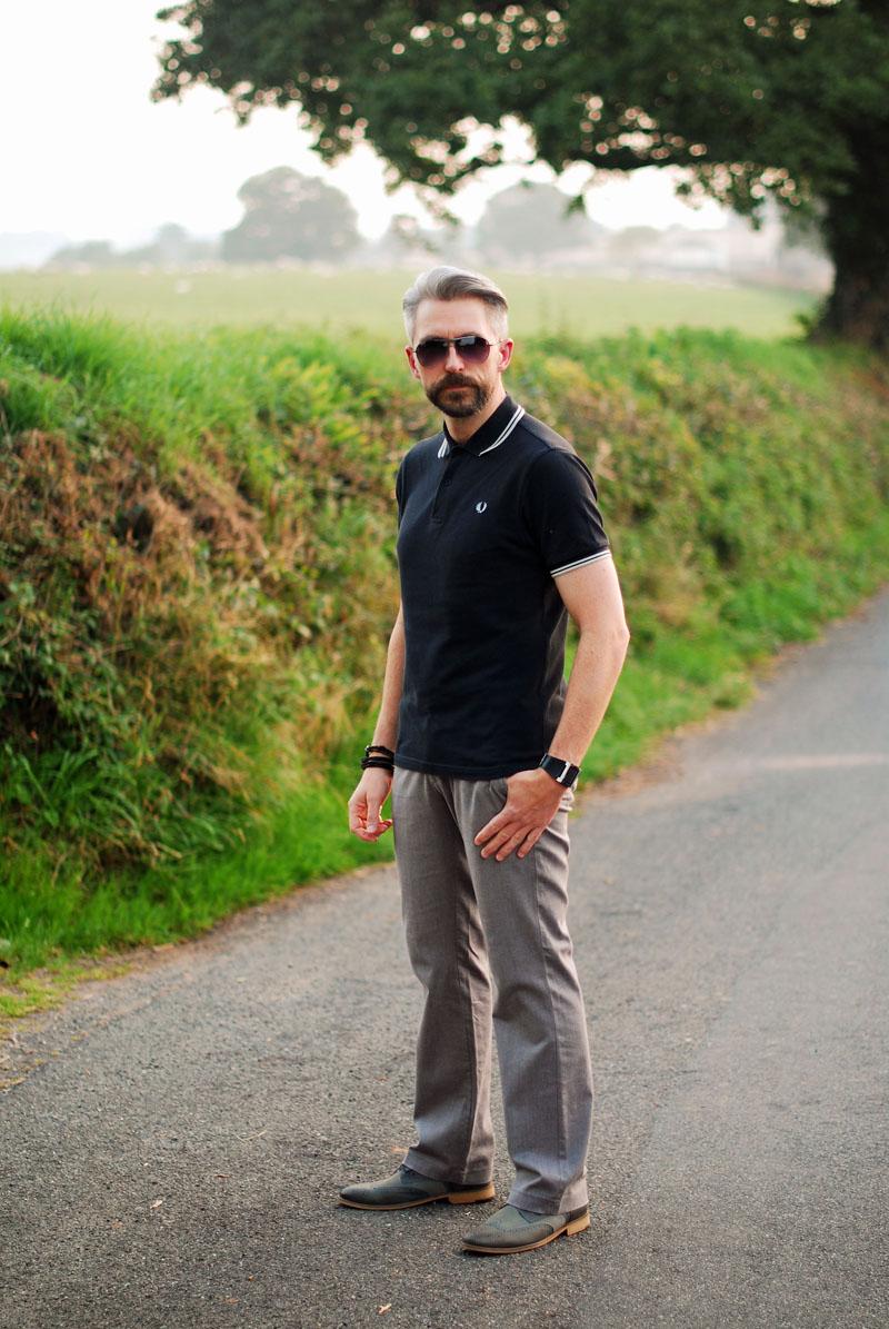 Dark denim shirt, grey trousers, baker boy hat \ over 40 menswear