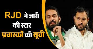 Bihar Election: RJD ने जारी की स्टार प्रचारकों की सूची, राबड़ी समेत लालू परिवार के इन 4 चेहरों को मिली जगह