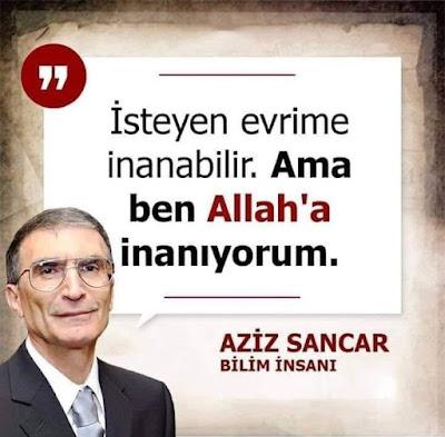 """""""İsteyen evrime inanabilir. Ama ben Allah'a inanıyorum, Aziz Sancar, Bilim insanı, nobel ödülü, türk bilim insanı, türkiye, iman, islam, ahlak"""