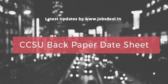 CCSU Back Paper Date Sheet 2017