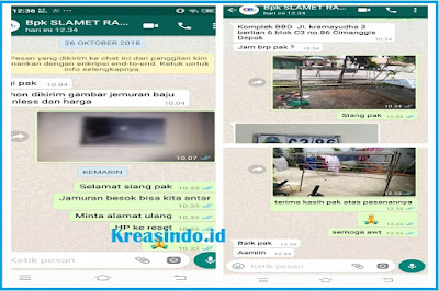 Jemuran Stainless Pesanan Bpk Slamet Raharjo di Cimanggis Depok