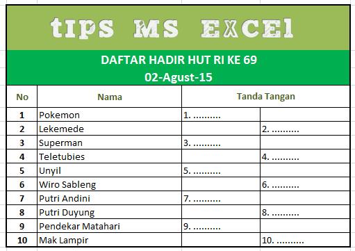 Cara Cepat Membuat Daftar Hadir Menggunakan Rumus Microsoft Excel