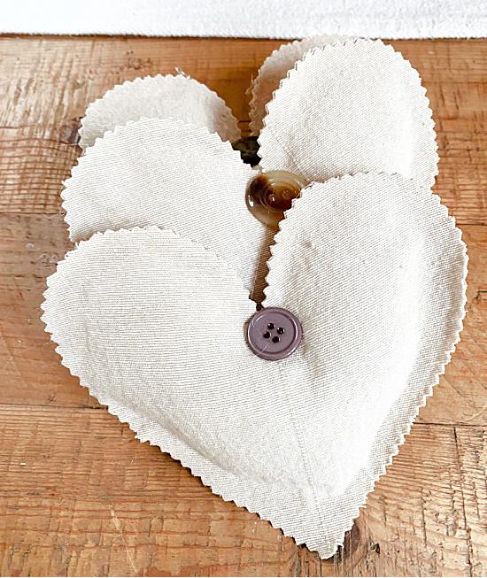 three muslin hearts