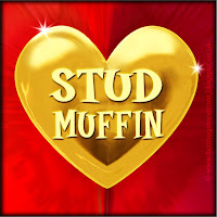 'Stud Muffin' text on gold heart free image for texting