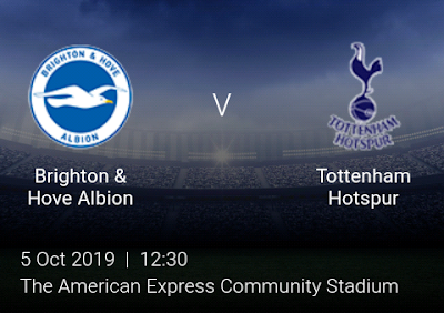 LIVE MATCH: Brighton Vs Tottenham Hotspur Premier League 05/10/2019