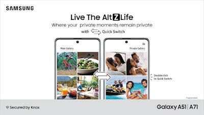 Galaxy A71 e Galaxy A51, obtêm atualização AltZLife com novo interruptor de modo de privacidade