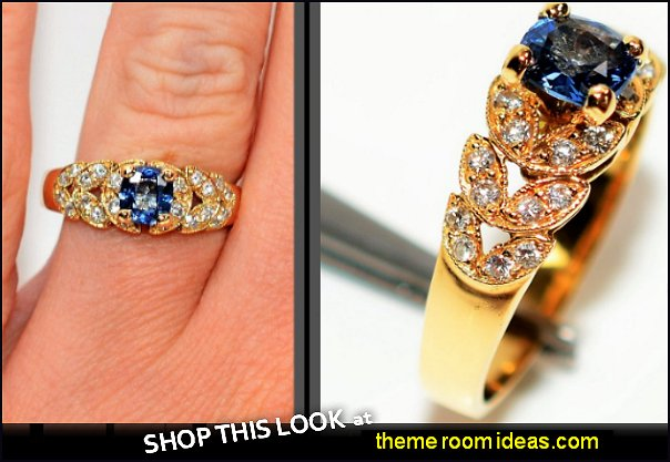 Sapphire & Diamond  18kt Yellow Gold Leaf  Women's Ring diamond rings sapphire rings