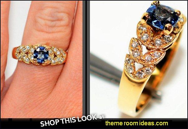 Sapphire & Diamond  18kt Yellow Gold Leaf  Women's Ring diamond rings sapphire rings