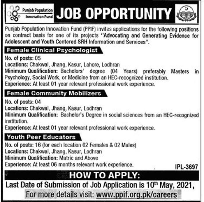 Latest Punjab Population Innovation Fund PPIF Jobs 2021