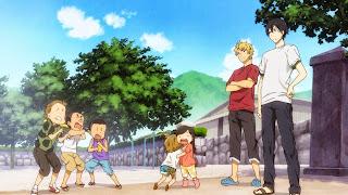 Seishuu Handa i jego kumpel Hiroshi Kido pouczają dzieciaki