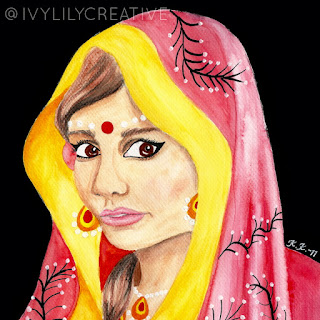 Bengali princess watercolor painting