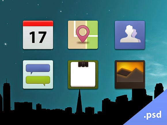 Facebook-style PSD icons