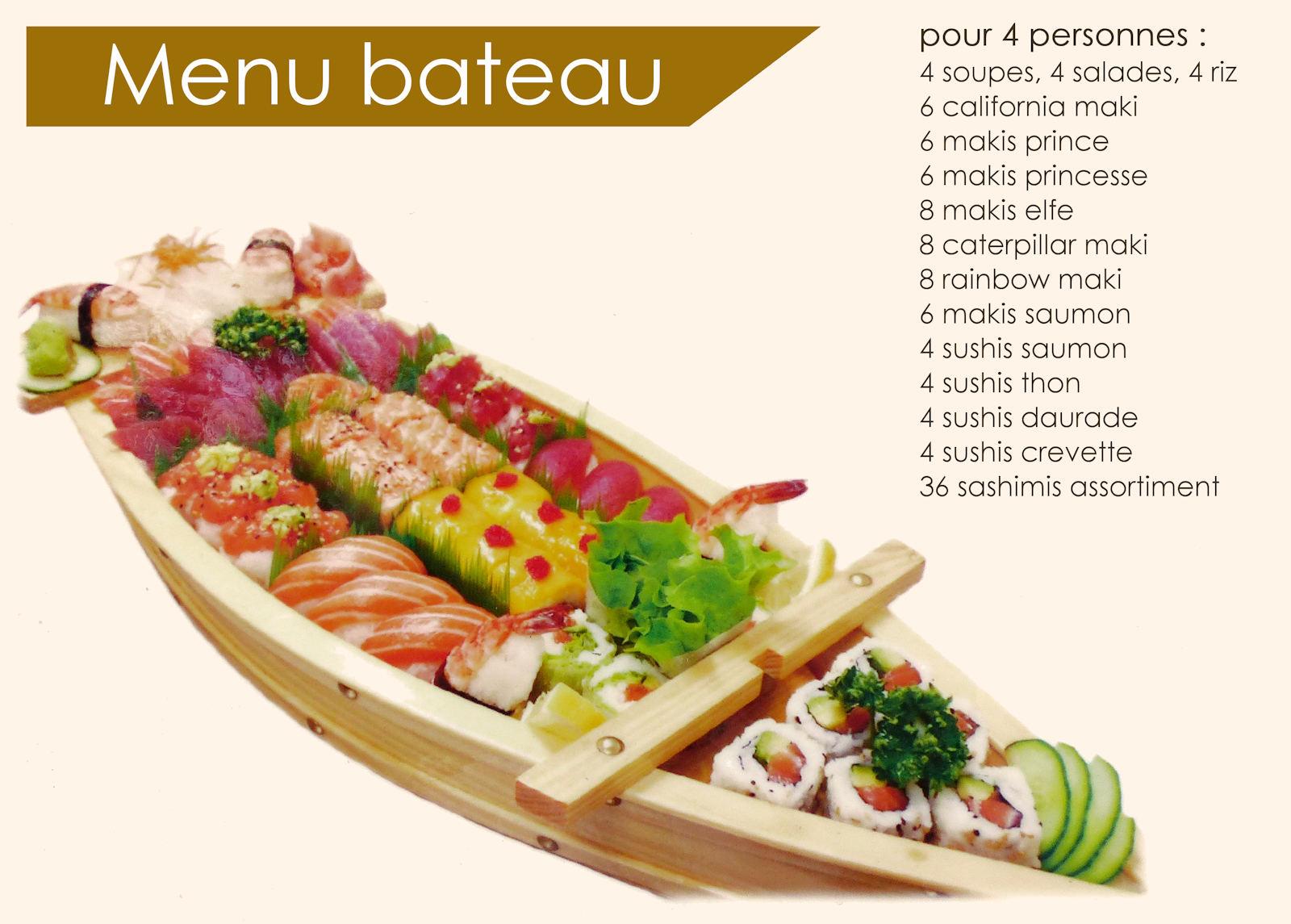 Restaurant Tourcoing J&J Sushi - Carte, menu Bateau.
