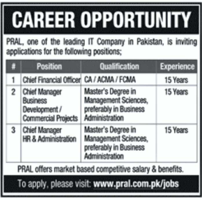 Latest Jobs in PRAL 2021 . IT JOBS