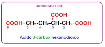 Estructura química del ácido 3-carboxihexanoico, con lo grupos ácidos realtados en rojo
