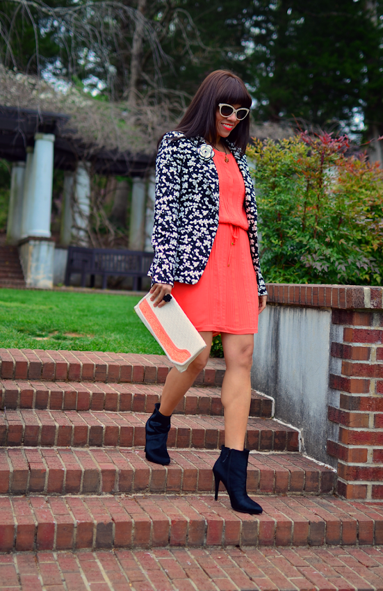 Coral dress street style