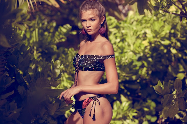 Josephine Skriver strips for the Agua Bendita Swimwear Campaign