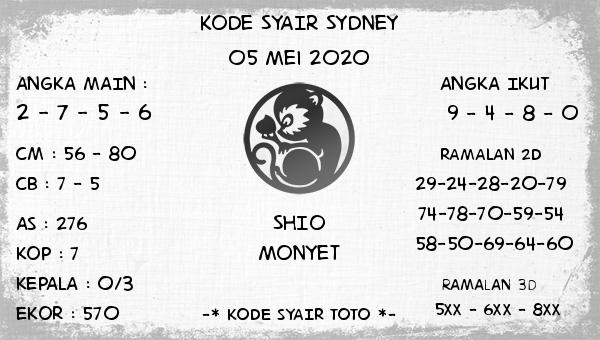 Syair Sydney 05 Mei 2020 - Kode Syair SDY
