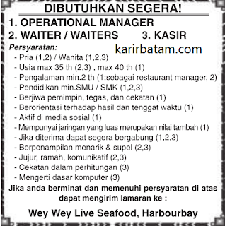 Lowongan Kerja Wey Wey Live Seafood