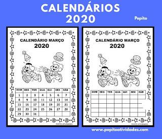 Calendário março 2020 Turma DA MÔNICA  para imprimir.