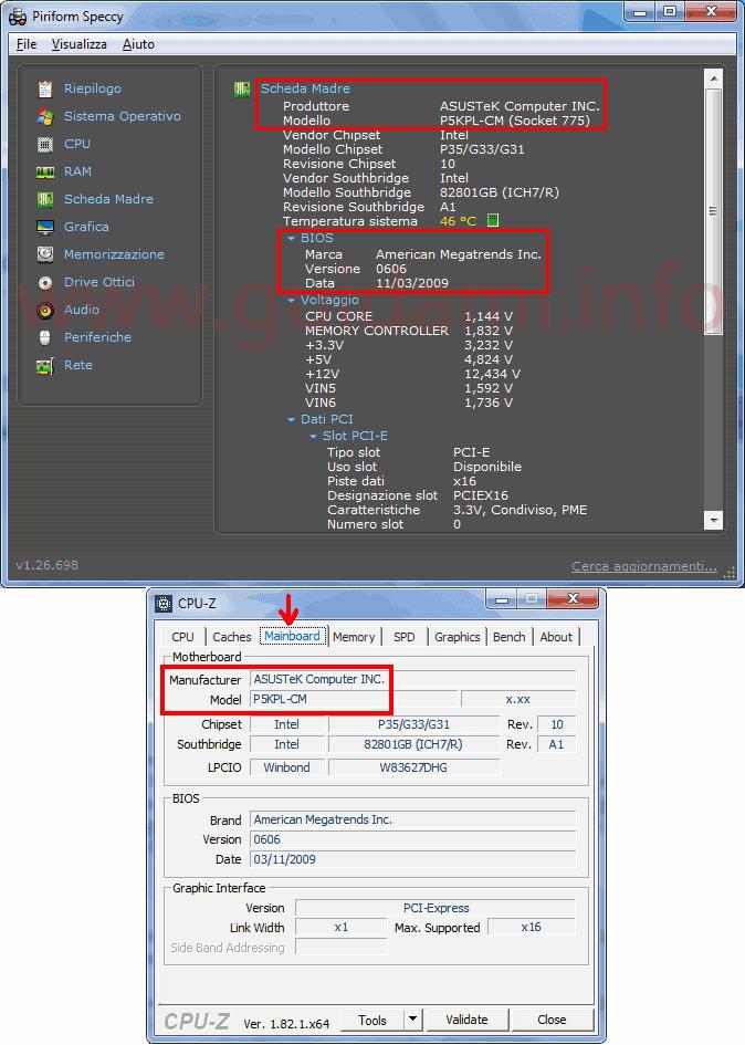 Speccy e CPU-Z sezione info Scheda Madre del computer