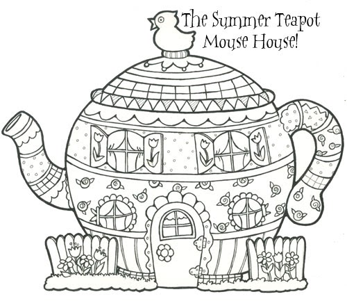 teapot printable coloring pages - marginalia new mouse house summer teapot