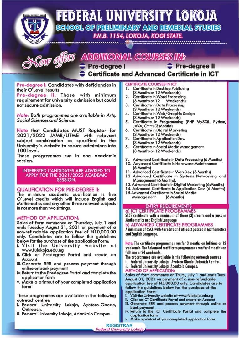 FULOKOJA Certificate & Advanced Certificate Form 2021/2022