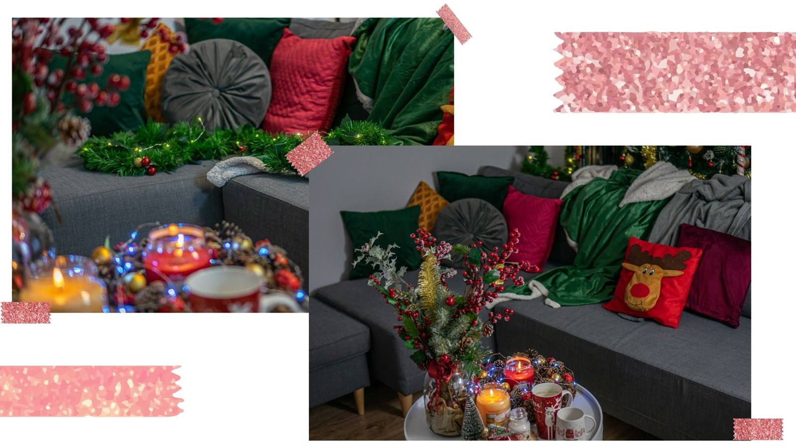9 świateczna kanapa, koc poduszki dodatki do salonu i pokoju dziennego na swieta bozego narodzenia