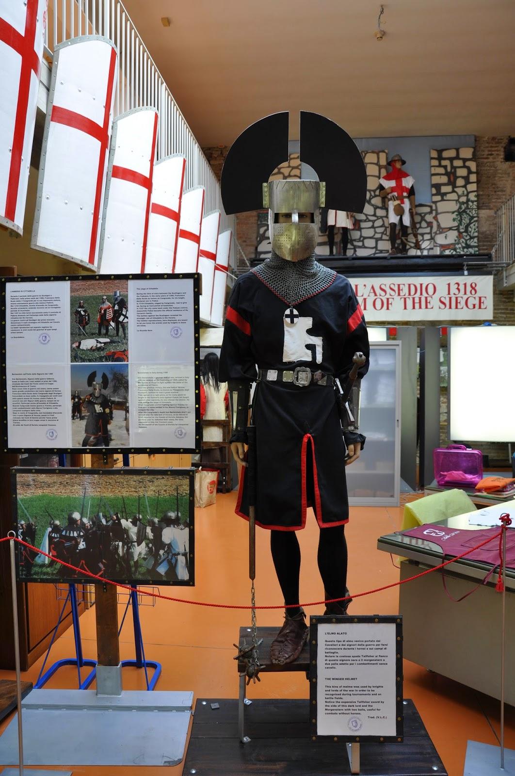 knight winged helmet Museum medieval wall Cittadella Italy