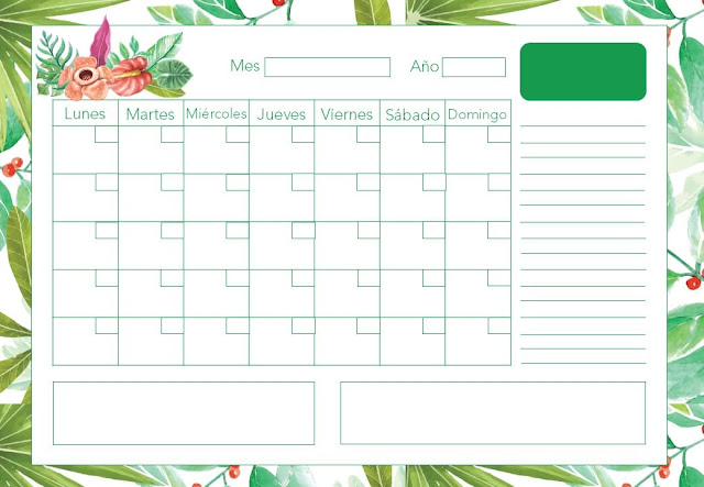 Calendario mensual tropical 2020 gratis