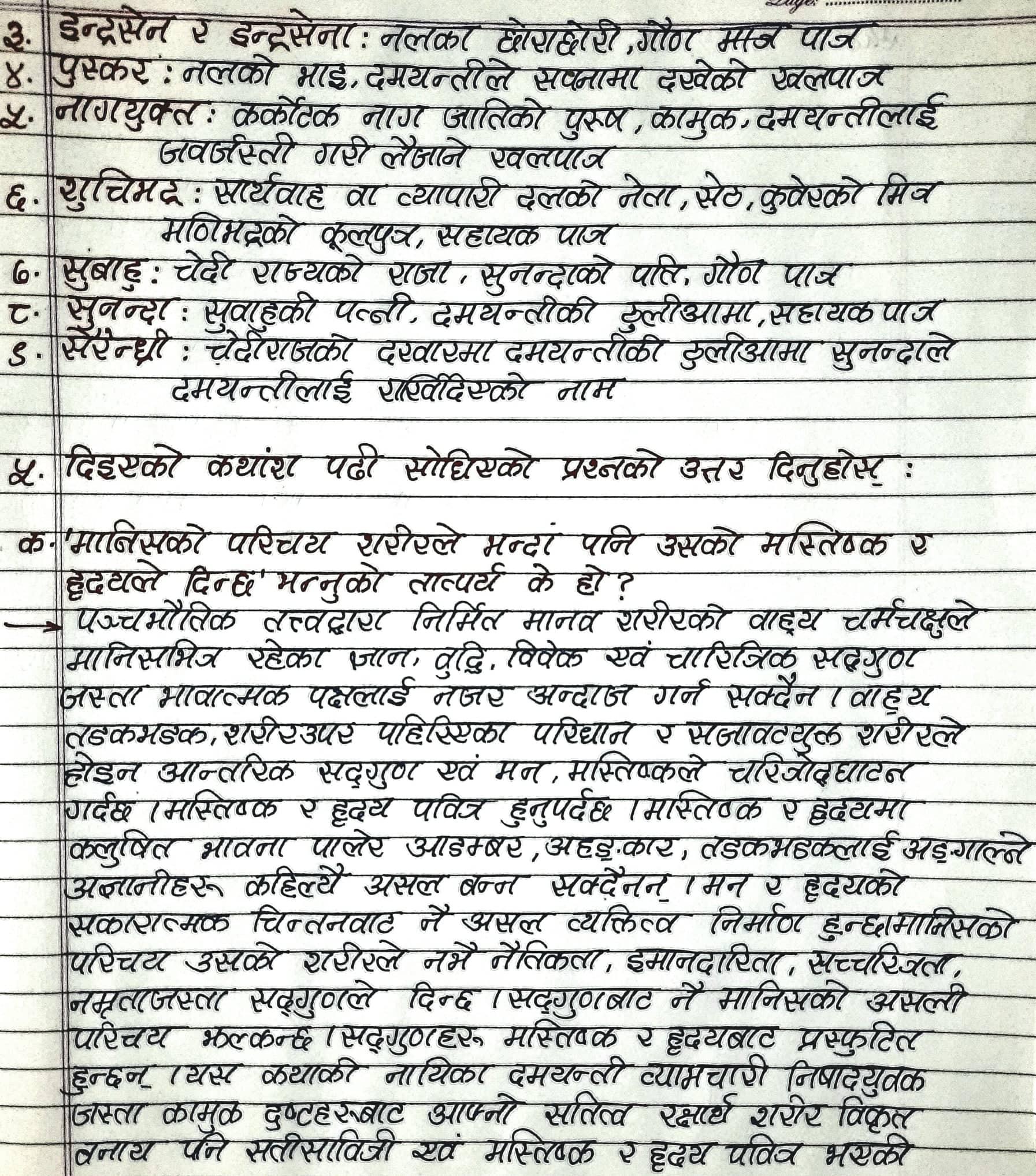Birahini Damayanti Class 12