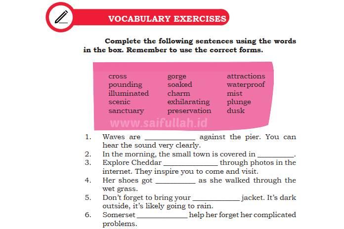 Pembahasan Soal Bahasa Inggris Chapter 5 Halaman 75 Vocabulary Exercise