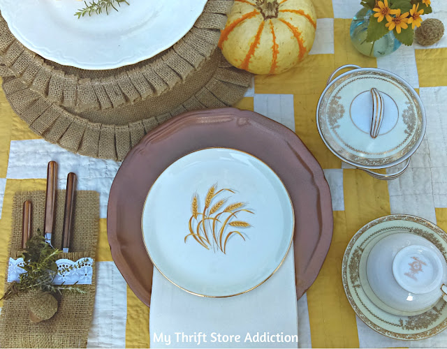 cupcakes and coffee in the garden fall tablescape